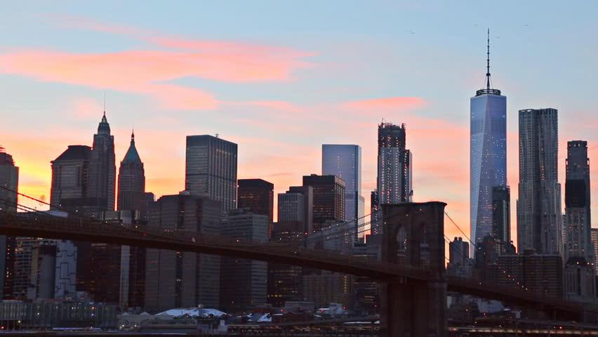 The Brooklyn Bridge and Manhattan Skyline from , New York. | Shutterstock HD Video #25180079