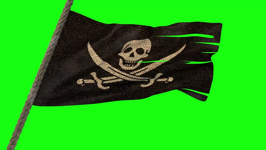 Waving pirate flag on a flag rope, with a green screen background. 3D Rendering. Loop. 4K | Shutterstock HD Video #25189052