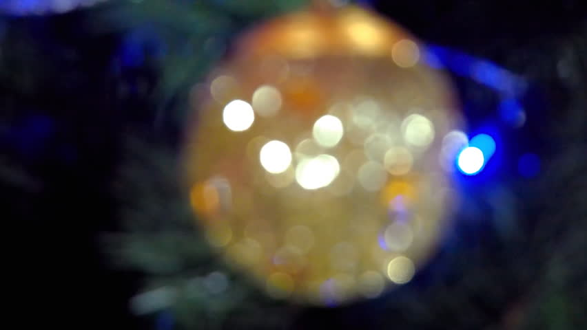 New Year's bokeh. Blur on a Christmas tree. Beautiful multicolored colors. Close-up. Full HD | Shutterstock HD Video #25190915