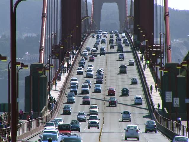 Traffic on Golden Gate Bridge - HD stock video clip