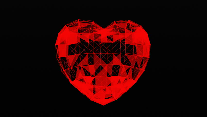 Plexus of abstract lines, triangles and dots. Heart, love. Loop animations. | Shutterstock HD Video #25208744