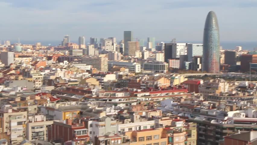 Beautiful landscape of the center of Barcelona . Travel and Business hd video | Shutterstock HD Video #25216637