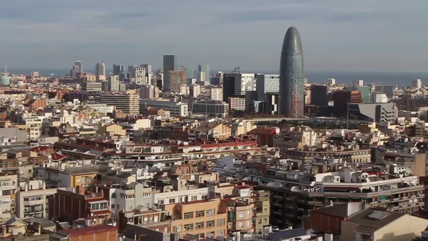Beautiful landscape of the center of Barcelona . Travel and Business hd video | Shutterstock HD Video #25216664