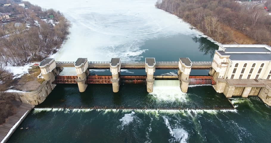 Water release from dam. Aerial view from copter, drone. | Shutterstock HD Video #25223099
