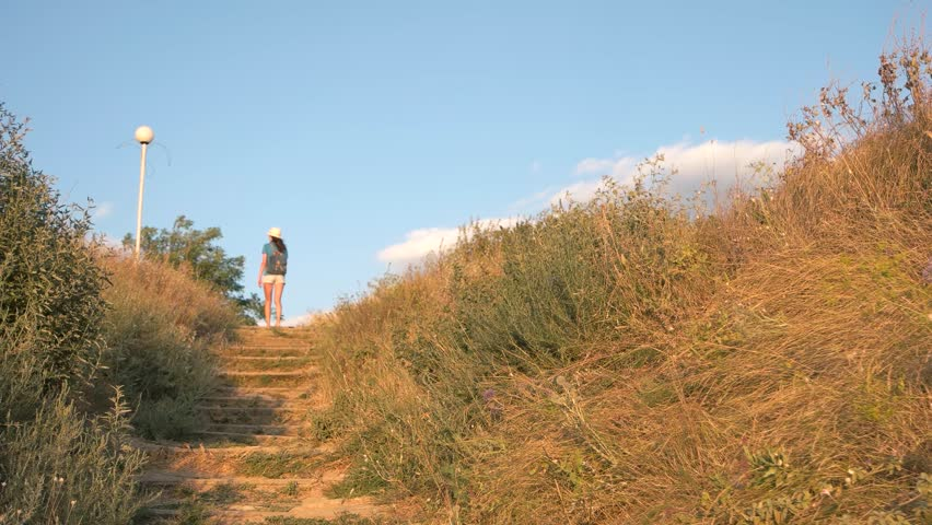 Girl climbs the stairs to the hill. Wild natural staircase with grass. Summer vacation. | Shutterstock HD Video #25228085
