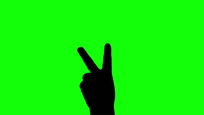 Kid or child hand silhouette sign victory or two or scissor gesture isolated green screen  | Shutterstock HD Video #25252106