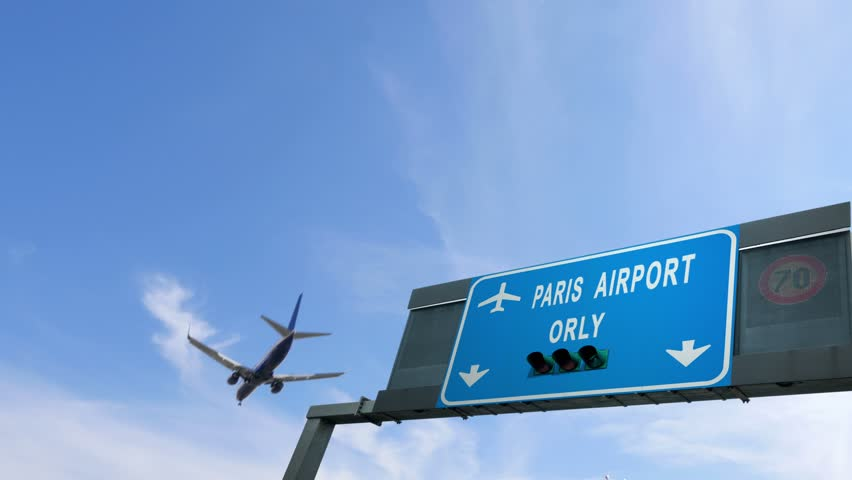 Plane flying over paris orly airport sign   Shutterstock HD Video #25267145
