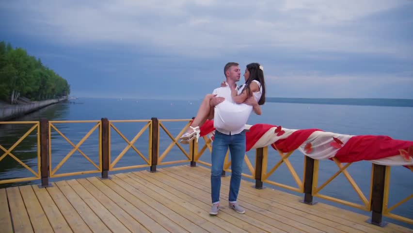 Couple in love at the pier   Shutterstock HD Video #25292516