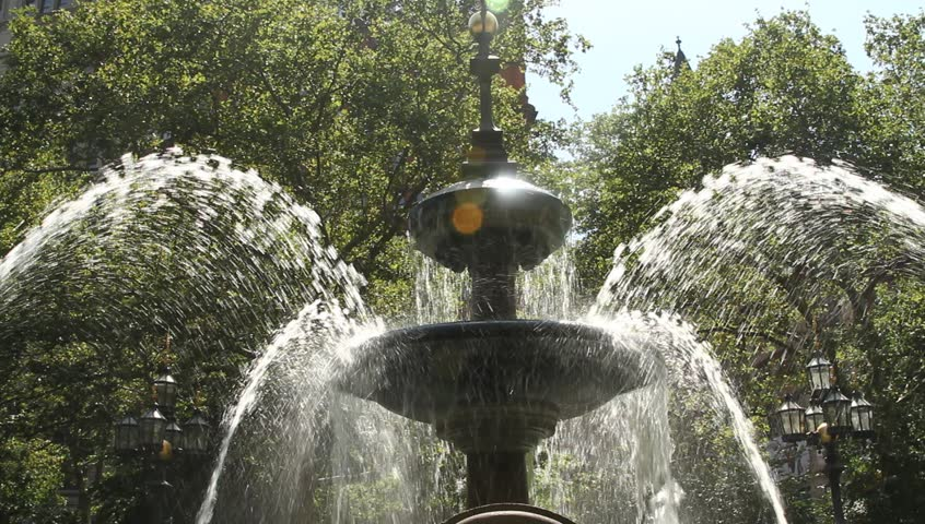 New York September 2011: Central Park: Most popular fountain in the park. Water springs in all directions. | Shutterstock HD Video #25296323