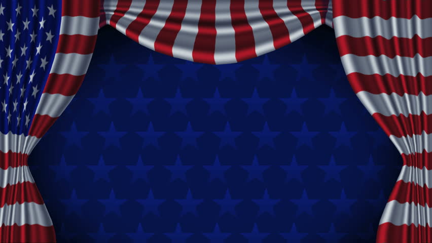 USA Flag Curtain Background Animation Loop With Alpha. Animation of American flag curtains. Contains matte channel. Animation seamlessly loops starting at 7 seconds 15 frames. - HD stock video clip
