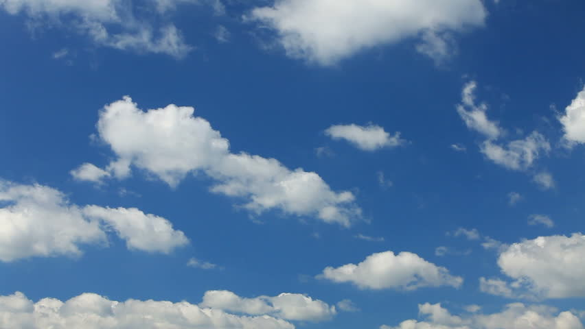Blue sky filled with floating clouds / Sky filled with clouds - HD stock footage clip
