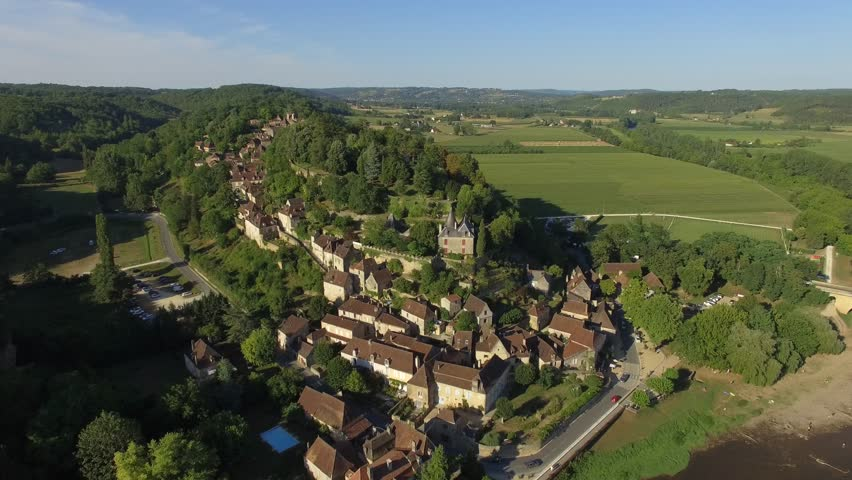 Aerial view by drone of Limeuil, classified among the most beautiful villages of France Aquitaine-Limousin-Poitou-Charentes, Limeuil, Dordogne, France