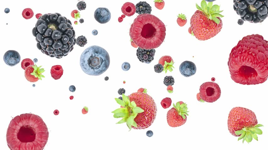 Mixed berries falling down on white background #2555456