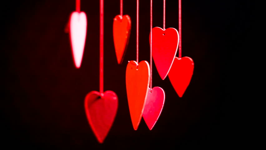 Close up of line of red hearts on ribbon. Valentines day | Shutterstock HD Video #25564604