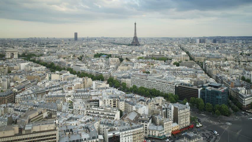 Aerial view of the city of paris with the eiffel tower in the distance | Shutterstock HD Video #25847114
