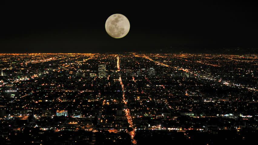 Moon rising over la timelapse | Shutterstock HD Video #25900169