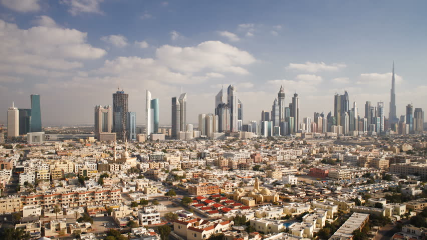 DUBAI, UNITED ARAB EMIRATES - CIRCA MAY 2011: elevated view of the new Dubai skyline of modern architecture and skyscrapers on Sheikh Zayed Road. | Shutterstock HD Video #2595983