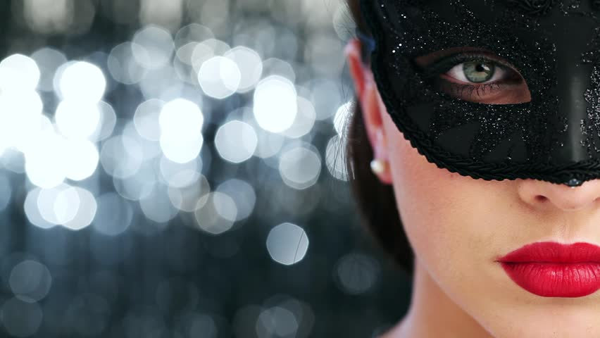 Macro closeup of sexy woman wearing masquerade mask at party 1920x1080 - HD stock footage clip