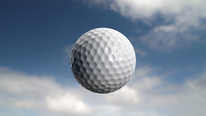 Golf ball flies at the camera then stops but carries on rotating. Last 200 frames (101-300) loop. - HD stock video clip