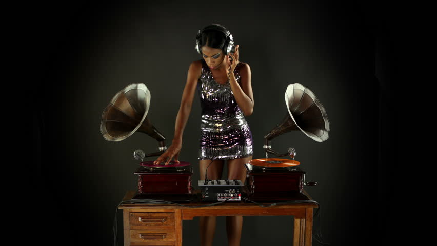 A Sexy Female Dj Dancing And Playing Records Stock Footage
