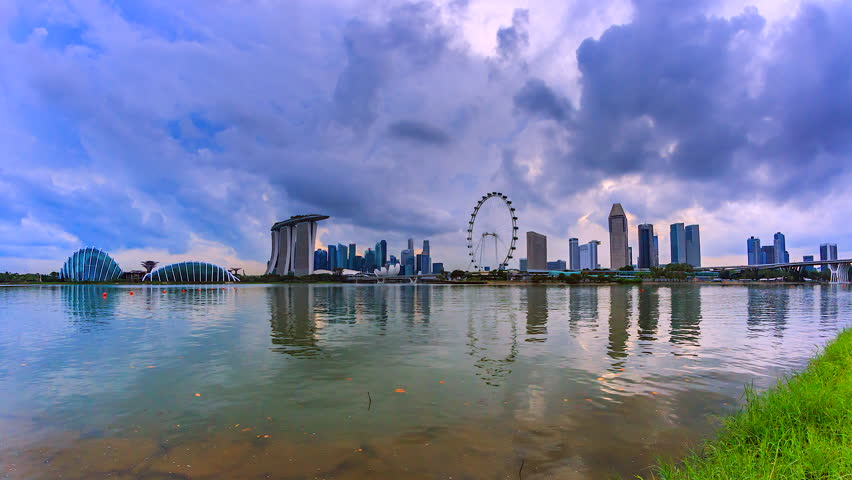 4K.Time lapse The view water reflection of Singapore city | Shutterstock HD Video #26106413