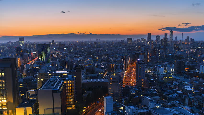 4K. Time lapse view sunset at Tokyo city  in japan  | Shutterstock HD Video #26152646
