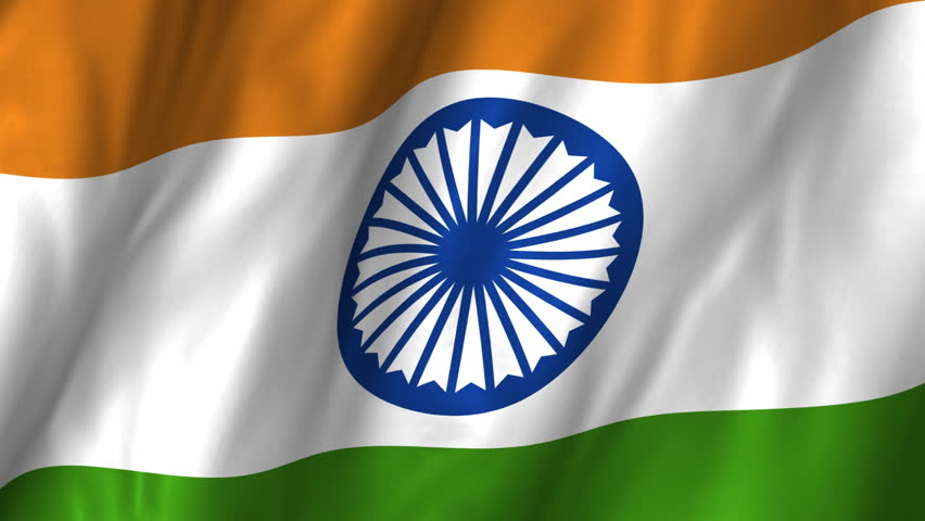 A beautiful satin finish looping flag animation of India.     A fully digital rendering using the official flag design in a waving, full frame composition.  The animation loops at 10 seconds.   - HD stock footage clip