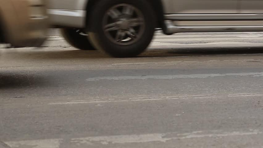 People cross the street on rush hour, traffic jam | Shutterstock HD Video #26199176