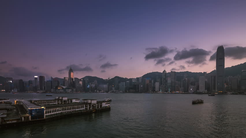 Sunset process of Victoria Harbour in Hong Kong | Shutterstock HD Video #26200238
