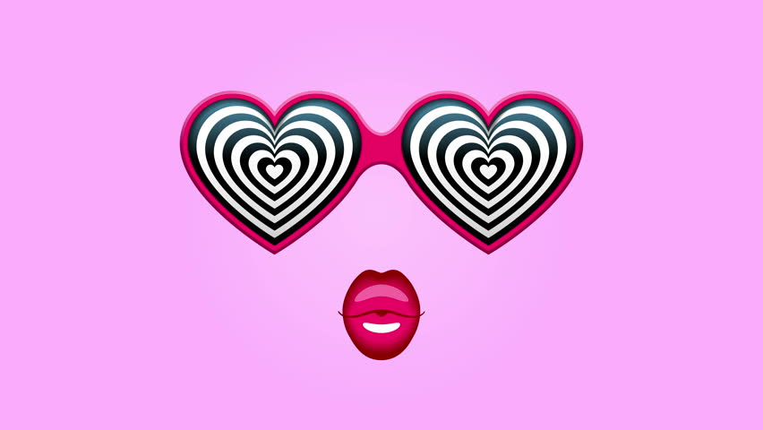 Glamorous heart-shaped sunglasses with hypnotic heart patterns instead of glasses, pink lips below, on rapidly changing colored backgrounds | Shutterstock HD Video #26211434