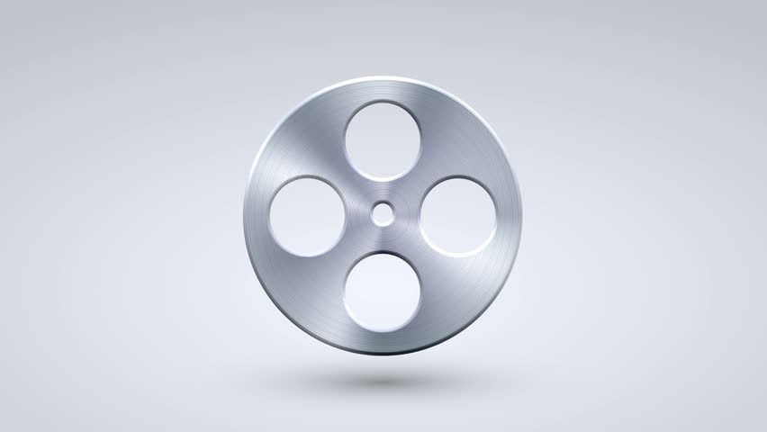 Animation full metal rotation film icon on blue background. 4K video. Animation with alpha matte   Shutterstock HD Video #26215709