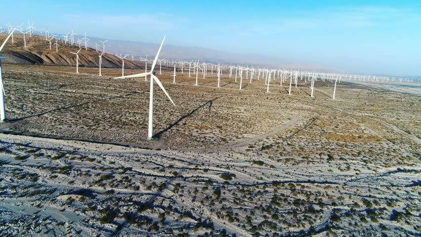 Alternative energy / Huge Windmills Farm / Aerial Drone shot / Slow motion | Shutterstock HD Video #26219111