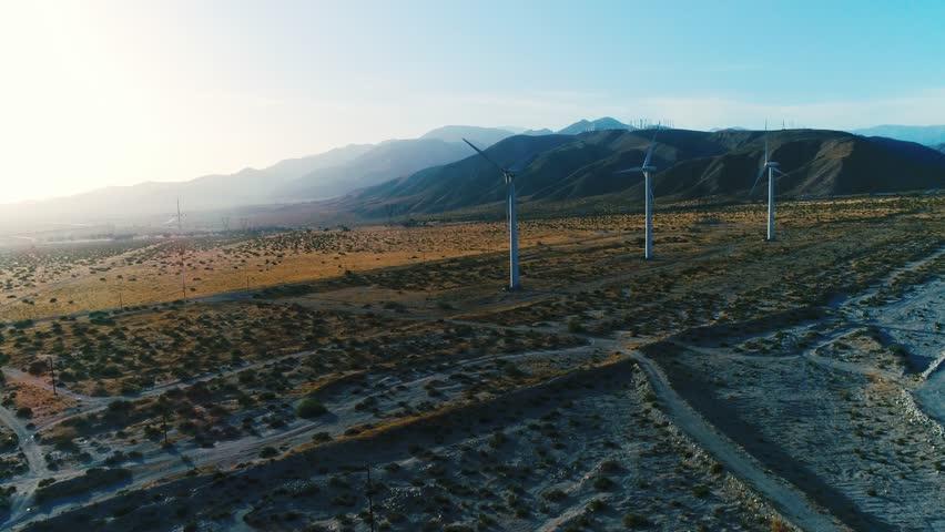 Alternative energy / Huge Windmills Farm / Aerial Drone shot / Slow motion | Shutterstock HD Video #26219120