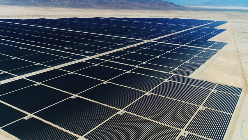 Sources of alternative energy / Huge fields of solar panels / the biggest solar farm in the world / Aerial Drone Shot / 4k Slow motion | Shutterstock HD Video #26219210
