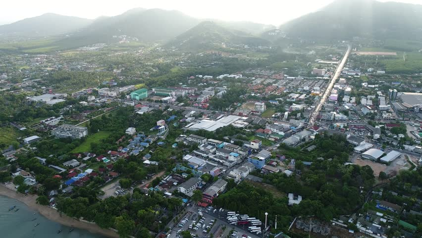 Phuket province at Chalong sub district area, aerial view from flying drone | Shutterstock HD Video #26220443