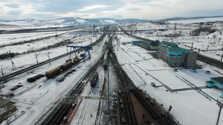 The railway station sorting of cars, Russia winter in Siberia, shooting from air | Shutterstock HD Video #26220785