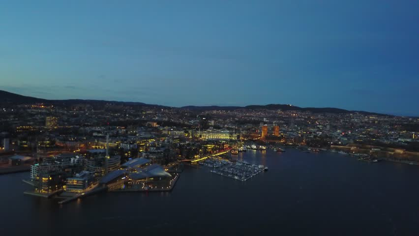 Aerial drone flying over Aker Brygge in Oslo, Norway | Shutterstock HD Video #26222639