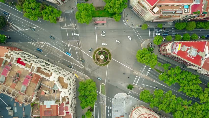Roundabout in Barcelona, aerial rising shot, top view. 4K video | Shutterstock HD Video #26224889