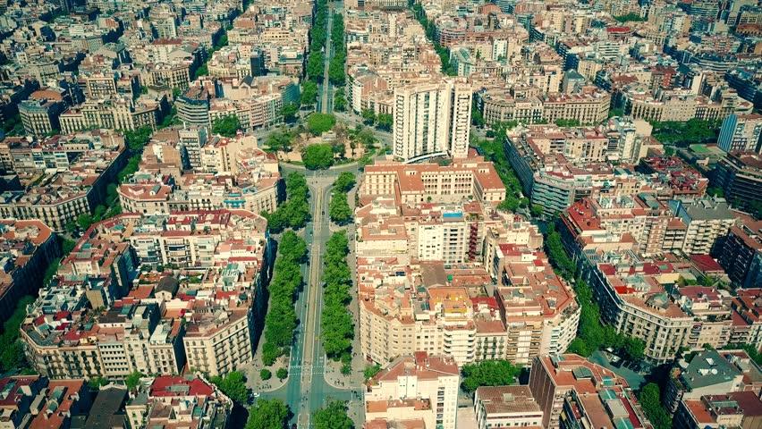 Barcelona residential area blocks pattern and major street aerial view, Spain. 4K shot | Shutterstock HD Video #26225492