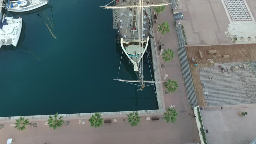 Aerial view on the port of Alicante city, yachts, boats, old ship, Mediterranean Sea | Shutterstock HD Video #26234609