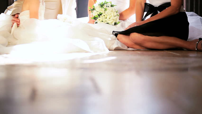 Young Mother Of The Bride: Beautiful Young Blonde Bride Wedding Dress Sitting With