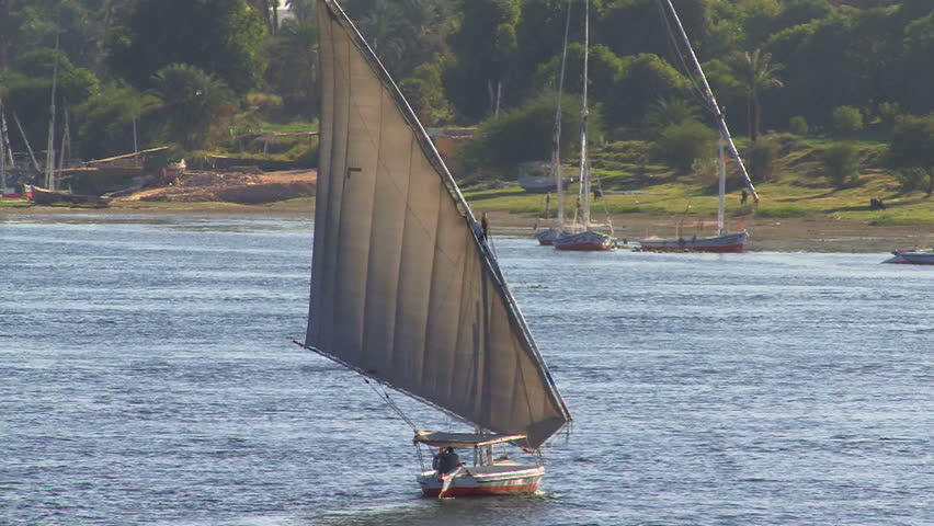 Sailing boat on the Nile, Egypt - HD stock video clip