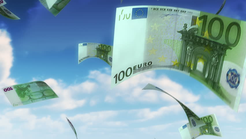 Money from Heaven - EUR (Loop). 100 Euro bills falling from sky. Seamless loop, slight motion blur for realistic movement. - HD stock video clip