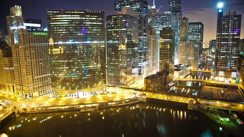 Chicago Skyline at Night - HD stock video clip