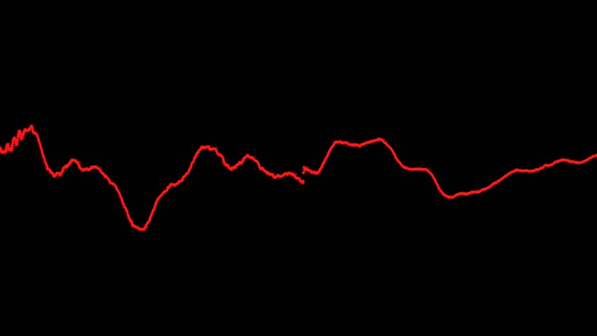 Abstract CGI motion graphics and animated background of red colored lines moving and reacting the same way an audio waveform or equalizer would. On a black background. - HD stock video clip