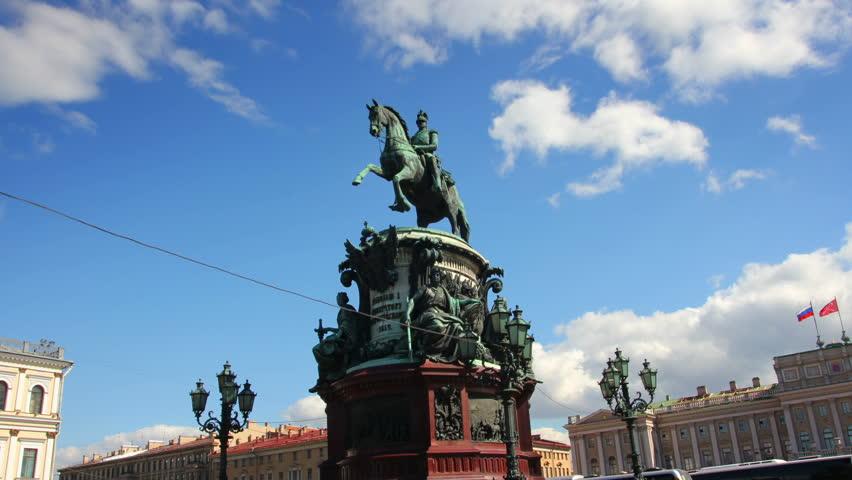 Nikolai emperor statue in St. Petersburg Russia - timelapse in motion