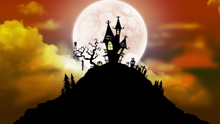 Happy Halloween Background Animation with Moon