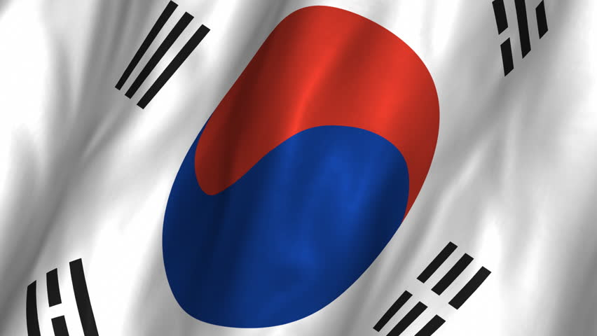 A beautiful satin finish looping flag animation of South Korea.     A fully digital rendering using the official flag design in a waving, full frame composition.  The animation loops at 10 seconds.   - HD stock footage clip