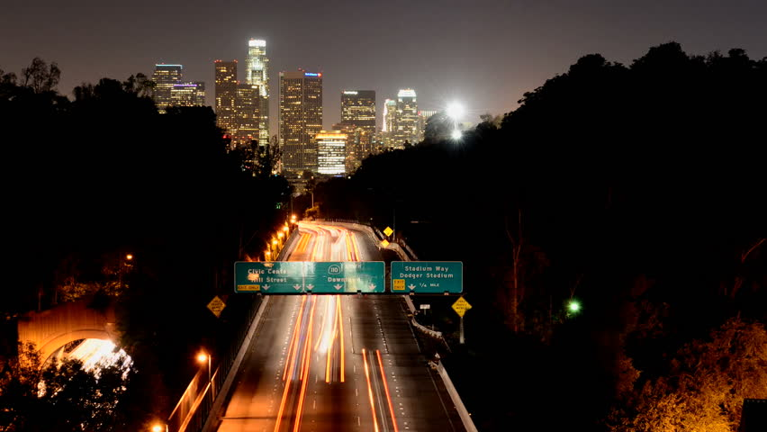 Time Lapse of Downtown Los Angeles at Night with Traffic  | Shutterstock HD Video #2696774