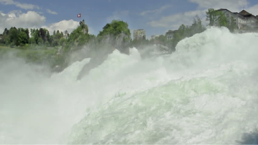 Water of Rhine Falls in Switzerland. Part of the famous waterfalls of the river Rhine (Rhein) in Schaffhausen (with sound)  - HD stock footage clip